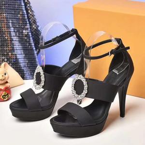 top strass grau sexy fivela saltos altos vestir sapatos femininos de designer sandaks panturrilha pacote de origem couro tamanho 12 centímetros 35 tradingbear