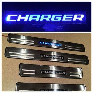 Дверной порог потертости гвардии синий светодиодный свет из нержавеющей стали для 2008-2015 Dodge Charger 4шт