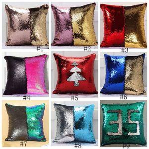 24styles lentejuelas caja de la almohadilla del amortiguador de la sirena de Cubiertas reversible Glitter Throw Fundas decorativo del hogar del sofá del coche la funda de almohada 40 * 40cm GGA3215