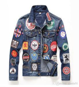 Italiano Mens Jackets Fashion Design Patch Jacket Applique giacche moto Slim Giacche sfilacciato Outwear M-3XL