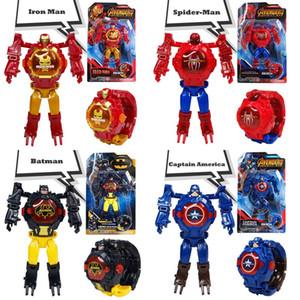 YENİ Süper Sıcak Satış Deforme elektronik saat, çocuk oyuncak Marvel robotu Iron Man Kaptan Amerika çizgi film çevirdi robot izle çocuklar oyuncakları