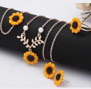 Moda yaratıcı ayçiçeği kolye ayçiçeği küpe yüzük bilezik dört parçalı toptan