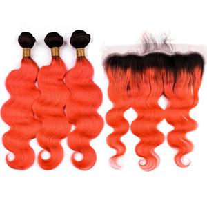 # 1B / Orange Ombre Cabelo Humano Malaio 3 Pacotes com Frontal 4 Pcs Lot Onda Do Corpo Alaranjado Ombre Lace Frontal Encerramento 13x4 com Feixes de Tecer
