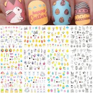 Las etiquetas engomadas del montón del clavo 12pcs conejo del huevo de Pascua del polluelo de la historieta de agua pegatinas Pato polaco Wraps etiquetas de DIY Nail Art Decoración manicur ...