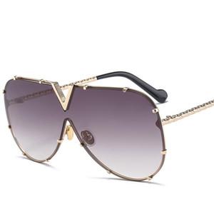 مصمم X907 نظارات الطيار المرأة رجال العلامة التجارية الفاخرة مرآة مكبرة V كبير جدا واضح أنثى 2018 أحد زجاج نظارات أنثى شقة الأعلى