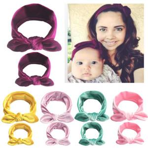 Mode 2Pcs / Set Maman Mère Fille Enfants bébé Bow Noeud Bandeau bande Accessoires cheveux