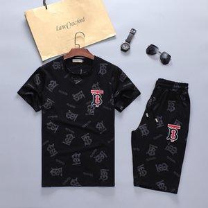 2020 new brand men's fashion letter printed cotton short sleeve pullover suit jacket pants suit men designer sports suit