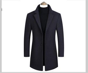 Solide Revers Ausschnitt Outwear Mens Fashion Langarm Trench Coats Frühlings-Herbst-Männer Outwear mit Einreiher
