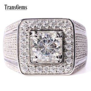 TransGems Luxo 2,3 CTW Wedding Band Centro 1ct 6,5 m F Cor Moissanite ouro 14K branco anel de noivado para Suave Homens Y200620