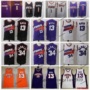Phoenix SunsDevin Booker 1 Baloncesto Jersey City Steve Nash de la vendimiaNBA 13 Charles Barkley 34 púrpura cosido camisas 2019