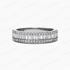 anillos de compromiso del anillo de diamante cuadrado de plena para las mujeres joyería del diseñador mujeres de lujo de los anillos de los anillos de boda del diseñador del anillo de la joyería de moda
