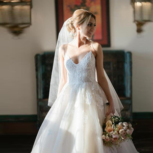 2020 Spaghetti Straps A Line Wedding Dress V Neck Tulle Bride Dress Princess Backless Appliques Wedding Gowns Custom Made