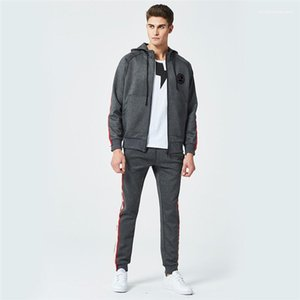 Hooded 2PCS Mens Tracksuits Long Sleeve Loose Mens Sports Sets Fitness Running Male Apparel Claws Print Spring