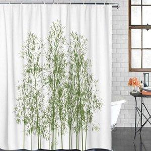 12 Hook Perde Polyester Perde Yeşil Bambu Mürekkep Taze Banyo Duş Perdeleri Banyo Öğe Su geçirmez Duş