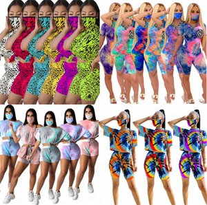 Women Tracksuit Pullover Shirt And Face D63007 3Pcs Shorts Pants Outfits With Tie-dye Mask Crop Sets Suit Gradient Sports Suit Top Casu Ecix