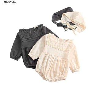 Milancel Yeni Erkek Giysileri Vücut Pamuk Şapka Kız Uzun Kollu Bebek Giyim Ile Sevimli Bodysuits Q190520