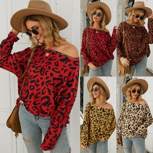 Women Casual Long Sleeve Leopard Print Yoga Shirt Sport Female Loose Pullover Tops Plus Size