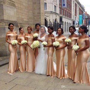 Elegante Off The Shoulder Mermaid Bridesmaids Dresses 2019 New Gold Piano Lunghezza senza maniche Sexy Black Girl Wedding Guest Gown Prom Dress