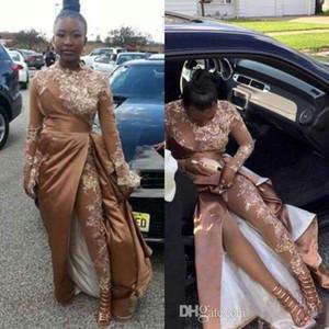 기차가있는 샴페인 골드 Jumpsuit 이브닝 드레스 2019 높은 목 레이스 얼룩 긴 소매 아프리카 연예인 공식 무도회 드레스 바지