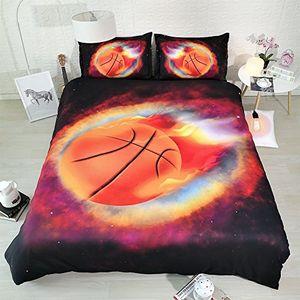 Red Colcha de basquetebol 3D Chama cama Set adolescente Boys Sports edredon cobrir 3PCS 1 Coverlet 2 Pillow Shams Galaxy Consolador Tampa NO Quilt