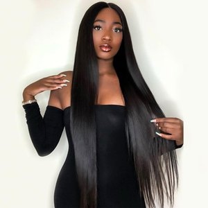 Brazilian Long Straight Lace Front Wigs Natural Hairline Silky Straight Hair Glueless Women 180 Density Black Long Wigs
