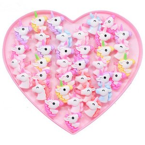 5 10pcs Acrylic Cartoon Unicorn Horse Kids Finger Rings Party Favors Costume Birthday Party Gifts for Guest Baby Party Supplies