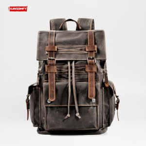 Retro Canvas Men's Backpack Large Capacity Leather Travel Backpacks Tooling Computer Bag