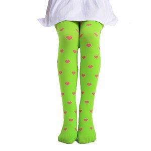 Heart Dots Girls Tights Winter Child Girls Footed Ballet Candy Colors Opaque Tights Stockings Knitted Pantyhose Infant Clothing