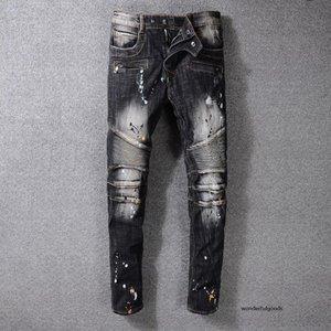 Erkek Retro Pileli Skinny Siyah Jeans Moda Tasarımcısı Kasetli Fermuar Slim Fit Biker Motosiklet Hip Hop yeni varış Boyalı Fold