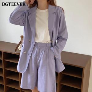 BGTEEVER Vintage púrpura Mujeres Pantalones cortos Trajes de manga larga chaqueta del juego de pantalones cortos La mitad femenina 2 Piezas traje de pantalones de verano 2020
