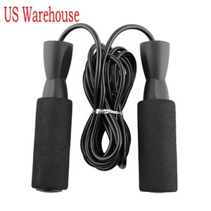US Shipping Aerobic Exercise Boxing Skipping Jump Rope Adjustable Bearing Speed Fitness Black Unisex Women Men Jumprope FY6160