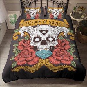 ZEIMON Rose Sugar Skull Bedding Sets Queen King Duvet Cover Set Mr Mrs Halloween Valentine's Day Couples Skull Bed Set
