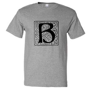مخصص الجرافيك تي شيرت للرجال B بلاطة الأولي رسالة B القطن الأعلى