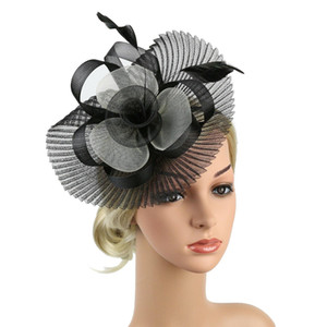 Cappello Womens Party Sinamay Fascinator cocktail Chiesa sposa Kentucky Derby abito Fedoras Womens Sinamay ad alta visibilità ttgSt