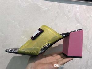 Transparentes sandalias del talón de las mujeres de mediana edad, de tacón alto mulas Diapositivas PVC superiores con cuero Suela Hecho en Italia 9 cm / 12 cm