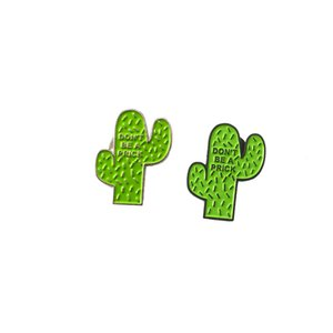 2pcs / set Yüksek Kalite Sevimli Fun Yenilikçi Do not Be A Prick Tropikal Desert Wise Cactus Emaye Yaka pimi