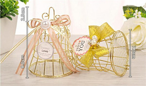 Gold Iron Birdcage Candy Box with colorful ribbon Unique Wedding Favours Mariage Party Decoration Baby Shower Favors Gift Boxes