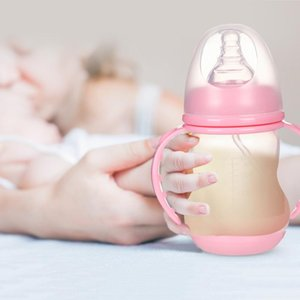 180ml Baby Feeding Cup Baby Heat-resistant PP Silicone Water Drinking Bottle Kids Wide Caliber Nursing Bottles 103x49mm
