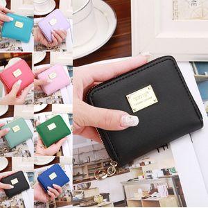 Women's mini coin purse candy color multi-card zipper short hand-held wallet card holder monederos para mujer monedas