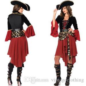 Costumes Mulheres Halloween pirata Cosplay com capuz Costume Acessórios Halloween Feminino Popular Cosplay Polyeter roupa completo manga Cosplay