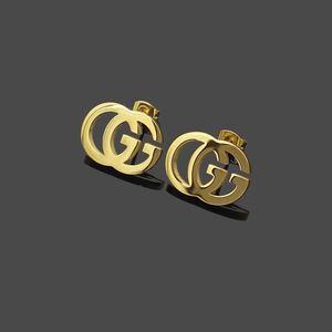 Nouvelle arrivée Extravagant design G Stamp Boucles d'oreilles Or Argent oreille Rose Boucles d'oreilles en acier inoxydable pour les femmes Hoop Bijoux Fashion
