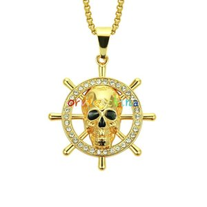 2020 designer accessories new products European and American hip hop skull rudder necklace men's personality skull pendant jewelry
