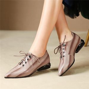 Fedonas Sommer-echtes Leder-Frauen-Pumpen 2019 neue Art und Weise spitze Zehe gemischte Farben Schuh-Frauen-Lace-up Shallow Einzelne Schuhe
