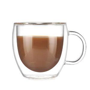 Doppel-schicht Hohe Borosilikatglas Wärme-beständig Griff Kaffee Tasse Transparent Kreative Wasser Cup Home Küche Liefert