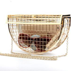 Borse New Metal rotondo semi nudo Air sacchetto del pranzo una spalla Slant catena sacchetto del pranzo Mini Cage abito da sera