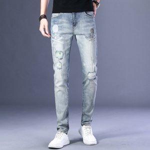 European men's stretch slim small straight and jeans diamond jeans feet holes printed hot diamond fashion pants