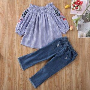 3-8 سنوات أطفال بنات وتتسابق للأطفال مطرز الأزرق معطلة القمم الكتف قميص + بنطلون جينز هول بنات ملابس الأطفال مجموعات