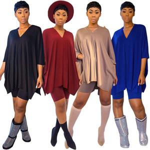 Femmes Solid Designer Été Vêtements amples T-shirts Shorts Ensemble 2 pièces Survêtement Décolleté en V Tee Tops Jogging Suit S-XL Vêtements de sport 2649