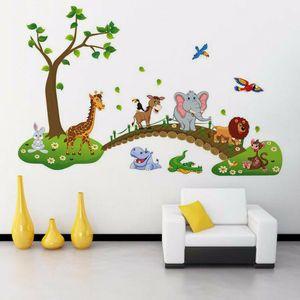 DIY 3D vintage wallpaper vinyl wall stickers for kids rooms child wall art decals home decoration Cartoon Jungle wild Animals