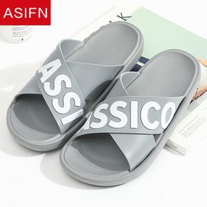 ASIFN мужской тапочки летом вьетнамки ванная комната в классическом письмо женщины на открытом воздухе слайды дома мужчина сандалии обувь Zapatos де Хомбре
